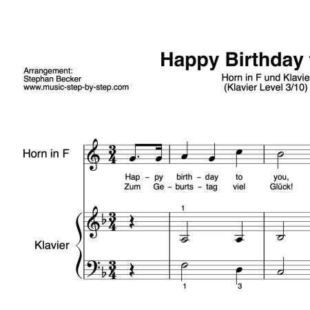 """Happy Birthday to You"" für Horn in F (Klavierbegleitung Level 3/10) | inkl. Aufnahme, Text und Playalong by music-step-by-step"