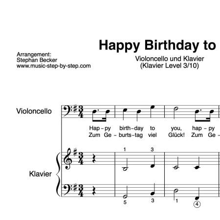 """Happy Birthday to You"" für Cello (Klavierbegleitung Level 3/10) | inkl. Aufnahme, Text und Playalong by music-step-by-step"