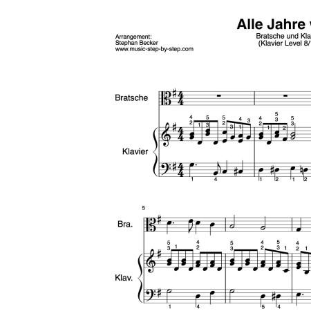 """""""Alle Jahre wieder"""" für Bratsche (Klavierbegleitung Level 8/10)   inkl. Aufnahme, Text und Playalong by music-step-by-step"""