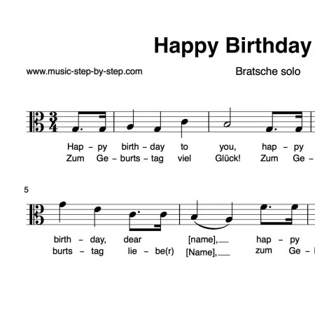 """Happy Birthday to You"" für Bratsche solo 