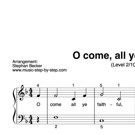 """O come, all ye faithful"" für Klavier (Level 2/10) 
