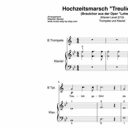 """L2 HHochzeitsmarsch """"Treulich geführt"""" für Trompete (Klavierbegleitung Level 2/10)   inkl. Aufnahme, Text und Playalong by music-step-by-stepochzeitsmarsch Wagner_Tpt"""