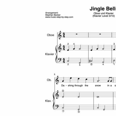 """""""Jingle Bells"""" für Oboe (Klavierbegleitung Level 3/10)   inkl. Aufnahme, Text und Begleitaufnahme by music-step-by-step"""