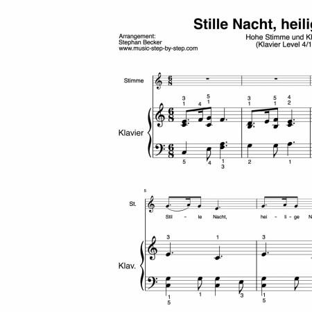 """""""Stille Nacht, heilige Nacht"""" für hohe Stimme (Klavierbegleitung Level 4/10)   inkl. Aufnahme, Text und Begleitaufnahme by music-step-by-step"""