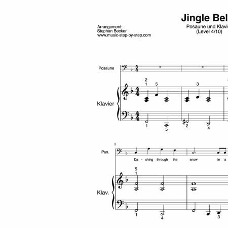 """""""Jingle Bells"""" für Posaune (Klavierbegleitung Level 4/10)   inkl. Aufnahme, Text und Begleitaufnahme by music-step-by-step"""