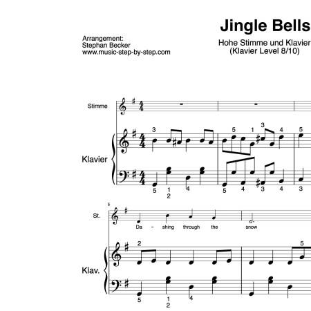 """""""Jingle Bells"""" für Gesang, hohe Stimme (Klavierbegleitung Level 8/10)   inkl. Aufnahme, Text und Begleitaufnahme by music-step-by-step"""