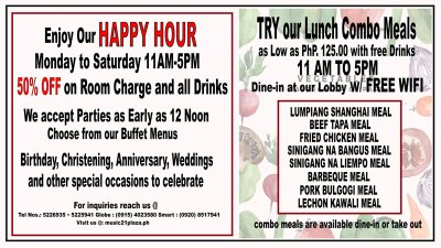 Happy Hour Promo and Lunch Combo Meals