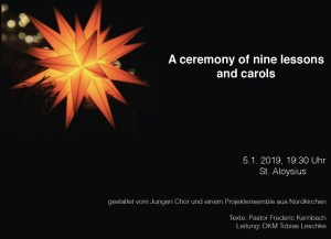 Plakat zur Ceremony of nine lessons and carols am 05.01.2019 um 19:30 h in St. Aloysius
