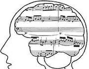 cervello con note musicali