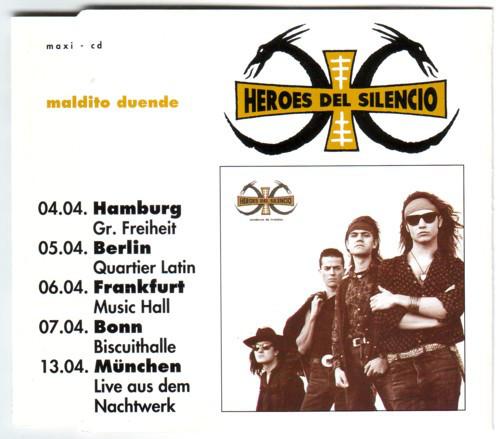 Edición alemana de Maldito Duende, anunciando fechas de sus conciertos