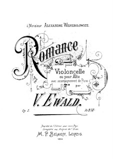 Romance for Cello (or Viola) and Piano, Op.2 by V. Ewald