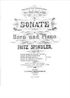 Sonata for French Horn and Piano, Op.317 by F. Spindler on