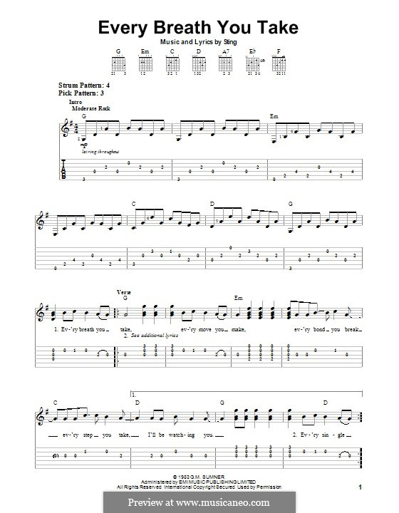 Every Breath You Take (The Police) by Sting - sheet music on MusicaNeo