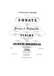 Sonata for Cello (or Violin) and Piano, Op.38 by J