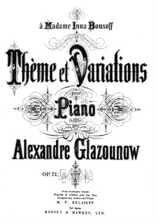 Theme and Variations for Piano, Op.72 by A. Glazunov on