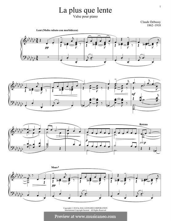 La plus que lente. L.121 by C. Debussy - sheet music on MusicaNeo