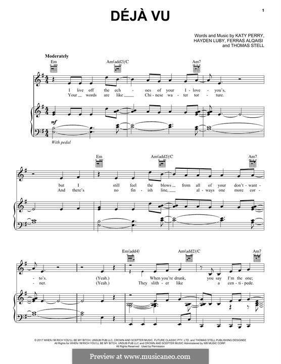 Deja Vu Piano Sheet Music | piano sheet music with letters