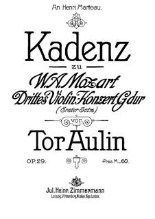 Cadenza to Violin Concerto No.3 by Mozart, Op.29 by T