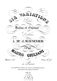 Six Variations for Violin and Guitar, Op.63 by M. Giuliani