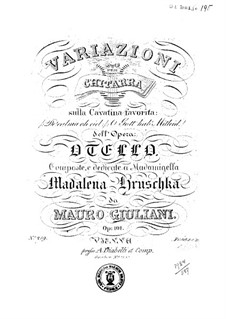 Variations on Theme 'Deh calma oh ciel' from 'Othello' by