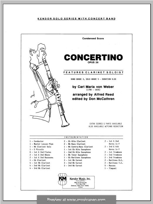 Concertino for Clarinet and Orchestra, J.109 Op.26 by C.M