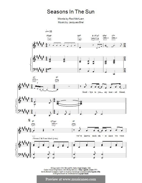 Seasons in the Sun by J. Brel - sheet music on MusicaNeo