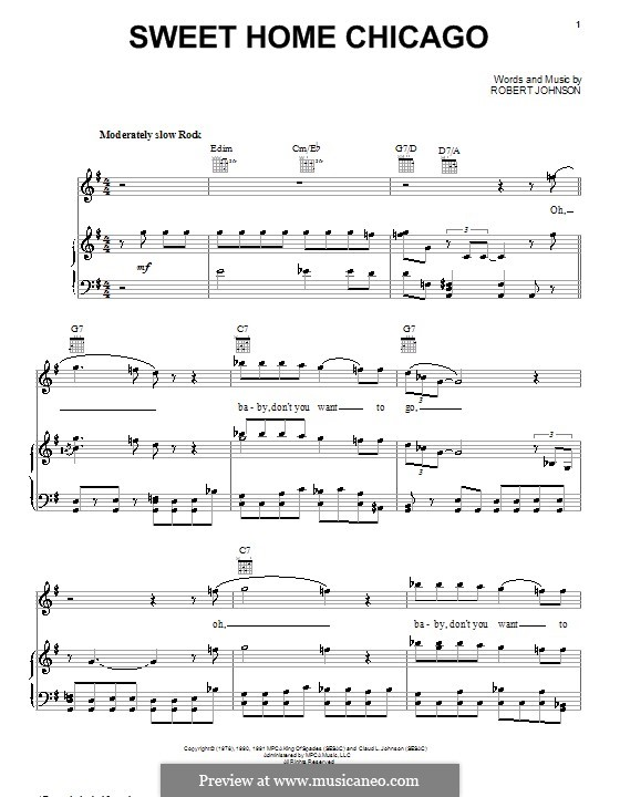 Play along sheet music with backing. Sweet Home Chicago Eric Clapton By R L Johnson On Musicaneo