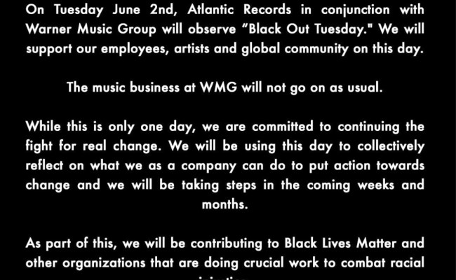 Music Business Set For Black Out Tuesday To Provoke