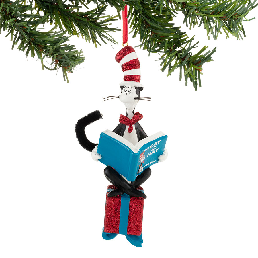Cat In The Hat Reading On Present Dr Seuss Figurines