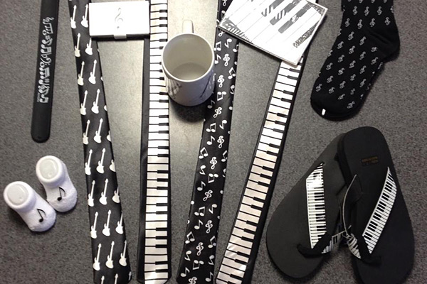 Music Gifts, Mugs, Ties, Belts, Sandals, Stationary and more