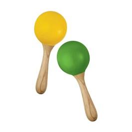 Green Tones Handle Egg Maracas