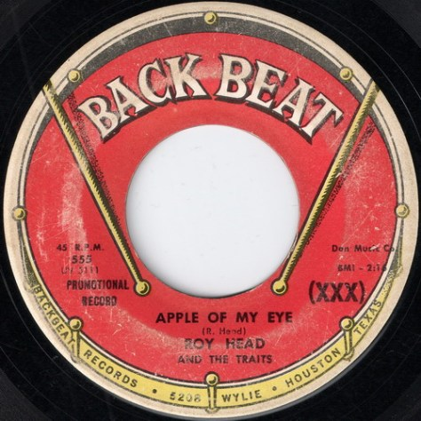 Roy Head And The Traits - Apple Of My Eye (Back Beat #555) Label Art