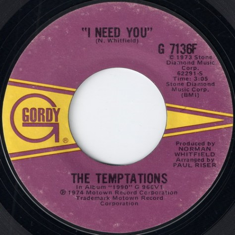 "The Temptations – You've Got My Soul On Fire (Gordy) [7""] '1973"