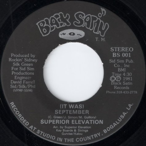 Superior Elevation - (It Was) September (Black Satin 7'')