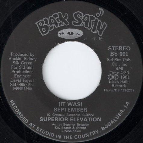 "Superior Elevation – (It Was) September (Black Satin) [7""] '1981"