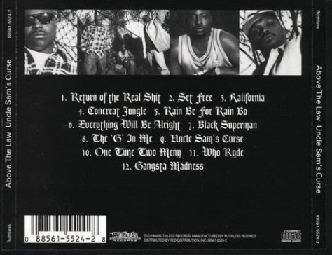 Above The Law – Uncle Sams Curse CD Back Cover