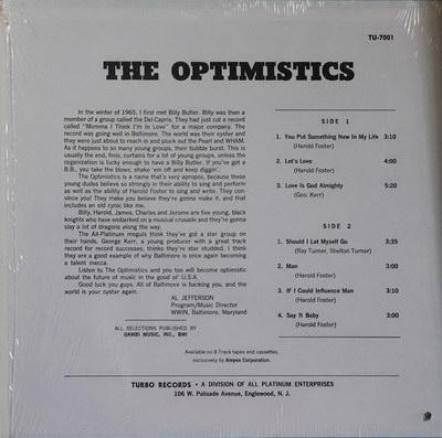 The Optimistics - Self-Titled LP '1971 (Turbo) Back Cover