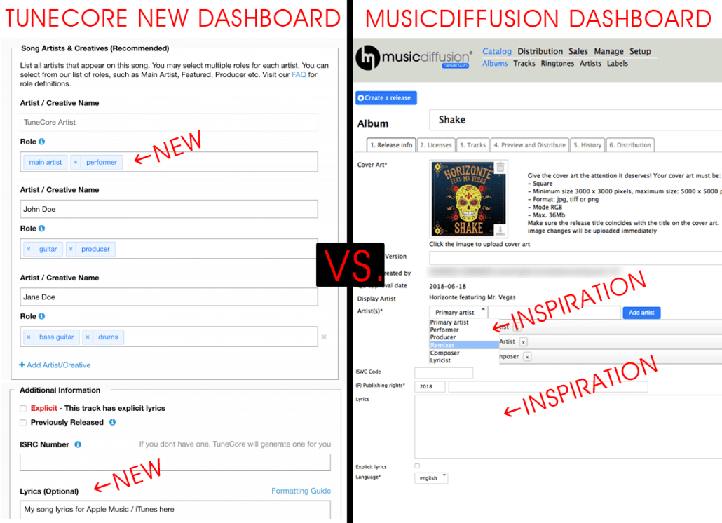 MusicDiffusion inspiring TuneCore for their Dashboard