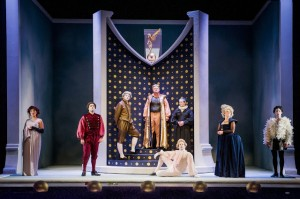 Paula Sides (Poppea), Clint van der Linde (Ottone), Nicholas Merryweather (Pallante), Andrew Slater (Claudio), Russell Harcourt (Narciso [standing]), Luke D Williams (Lesbo [seated]), Gillian Webster (Agrippina), Jake Arditti (Nerone), English Touring Opera // Handel, Agrippina. Photo: Robert Workman