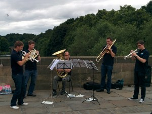Onyx Brass performing on Framwellgate bridge