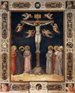Crucifixion with angels and saints