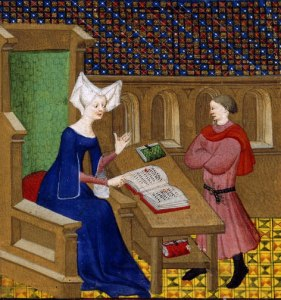 Woman explaining to man