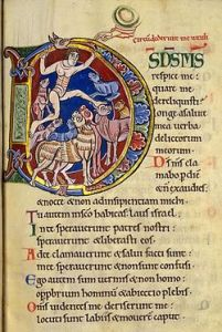 Illuminated initial for Ps 22