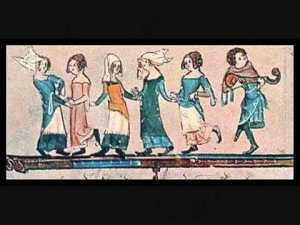 mediaeval dancers in a line