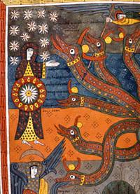 Lady = Church scaring off dragon=Satan