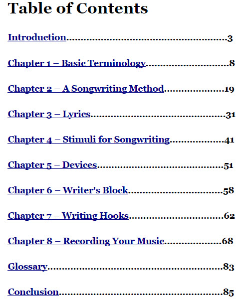 the no bs songwriter's bible table of contents