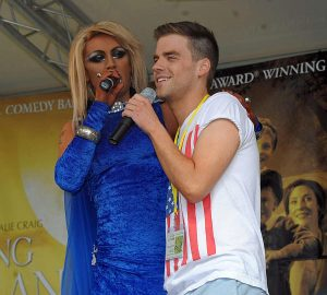 Miss Marty with Hollyoaks actor PJ Brennan Pride 2012