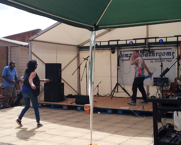 Jonezy on stage at Enderby