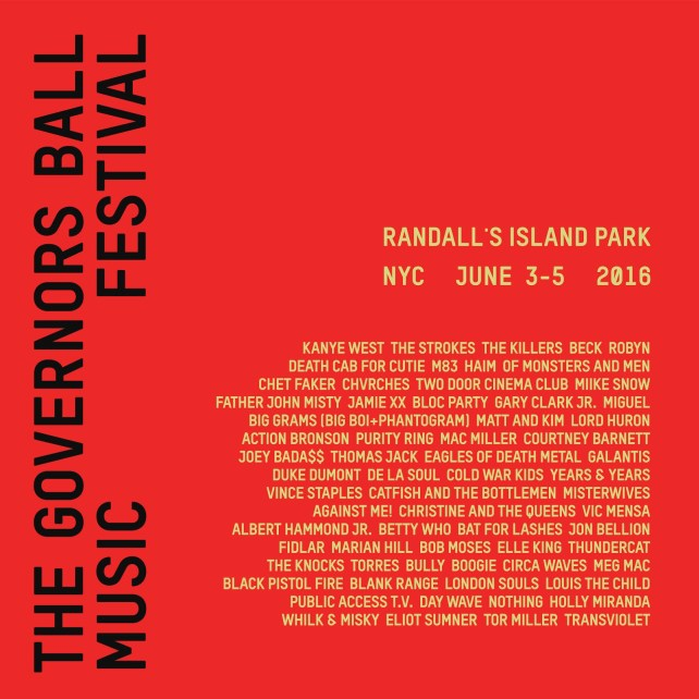 Check out the lineup for Governors Ball 2016! Who's going?
