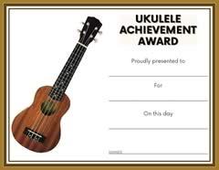Ukulele Achievement Award Certificate